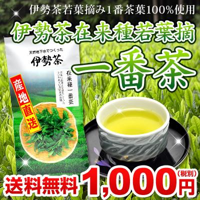 伊勢茶在来種若葉摘一番茶100g 送料無料 税別1000円